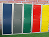 coloured economy lockers, grey contract lockers, wire mesh ventilated, cube lockers, clean & dirty, locker plinths and bench units