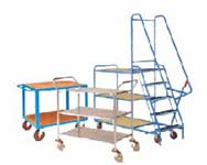 picking trolleys for warehouse and factory storeroomswith steps